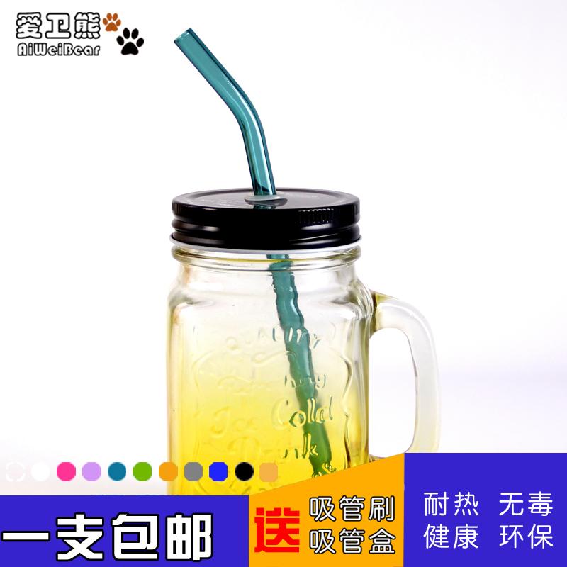 Бесплатная доставка цвет сопротивление горячей стекло соломинка молочный чай фруктовый сок фасоль пульпа творческий защищать губа прямо беременная женщина изгиб бездельник прозрачный соломинка