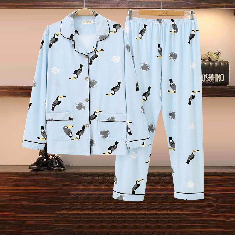 Spring and autumn pajamas womens long sleeve trousers cardigan cotton fattening plus size maternity suit household suit winter routine