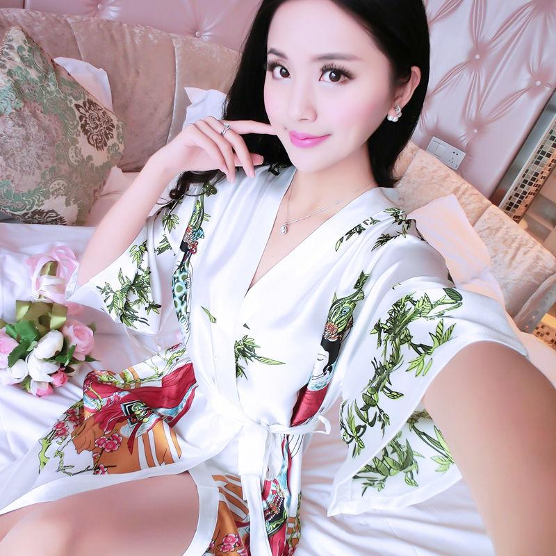 Thin pyjama girl spring and autumn and summer Princess lovely simulation silk nightgown girl bathrobe short sleeve silk printing household clothes
