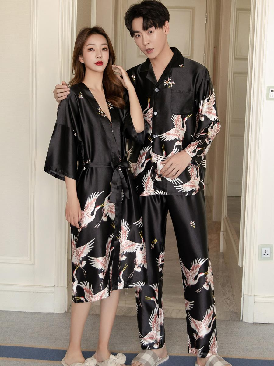 Couple pajamas, womens spring and autumn ice silk bathrobes, sexy suspenders, nightgowns, long sleeves, mens home clothes, summer