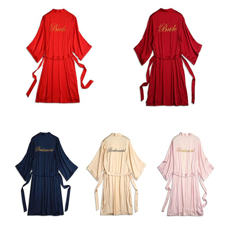 New Nightgown womens spring, summer and autumn simulation silk bathrobe womens medium and long embroidered character bridal robe morning Gown Bridesmaid Dress
