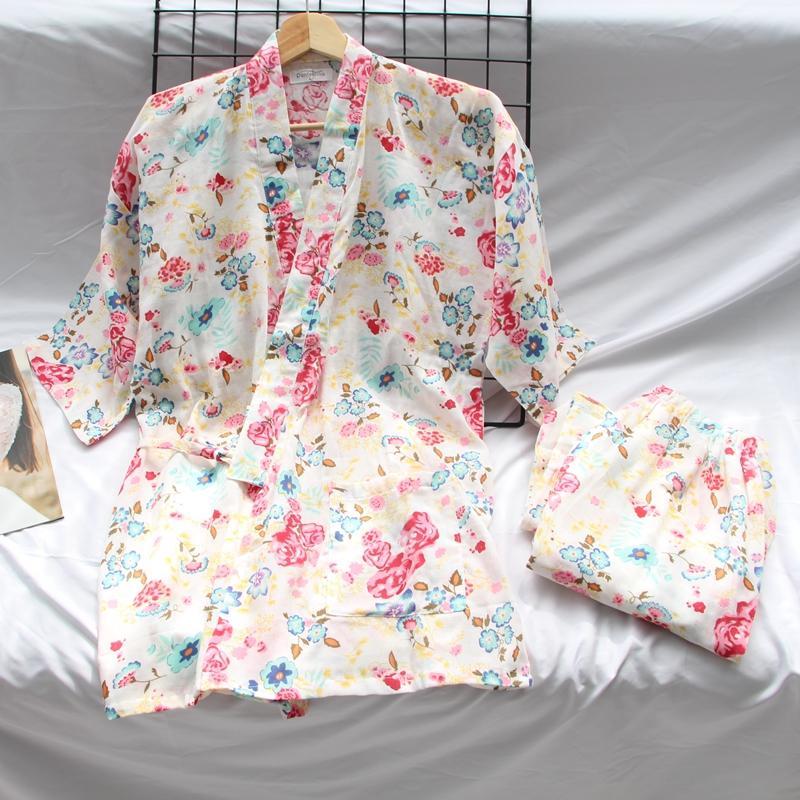 睡衣女纯棉薄款可和服宽松大码七分裤甜美可爱浴袍家居服套装清仓