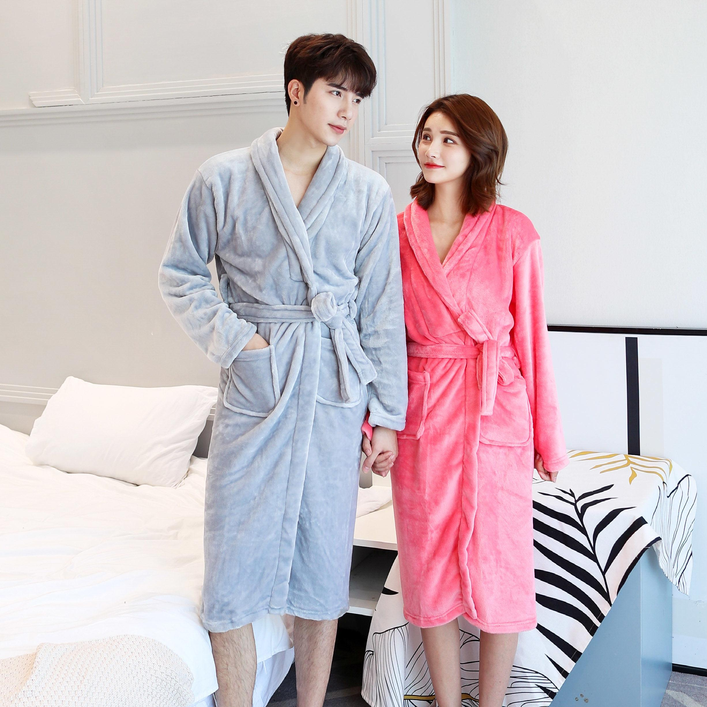 Thickened flannel couple robe bathrobe autumn and winter coral velvet home clothes Pajama long sleeve mens and womens bathrobe