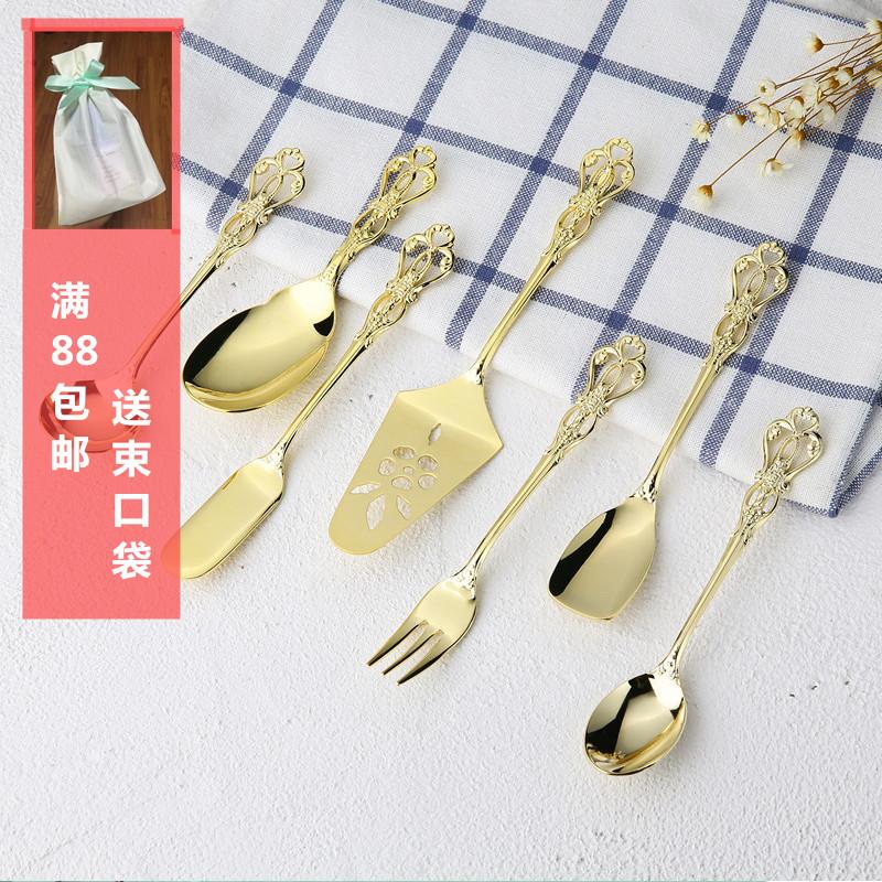 日本进口salus复古镂空镀金不锈钢咖啡勺英式下午茶勺甜品点心叉