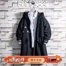白糖玫瑰19 青年黑色加绒连帽中长款风衣外套男秋冬季潮厚酷棉服图片