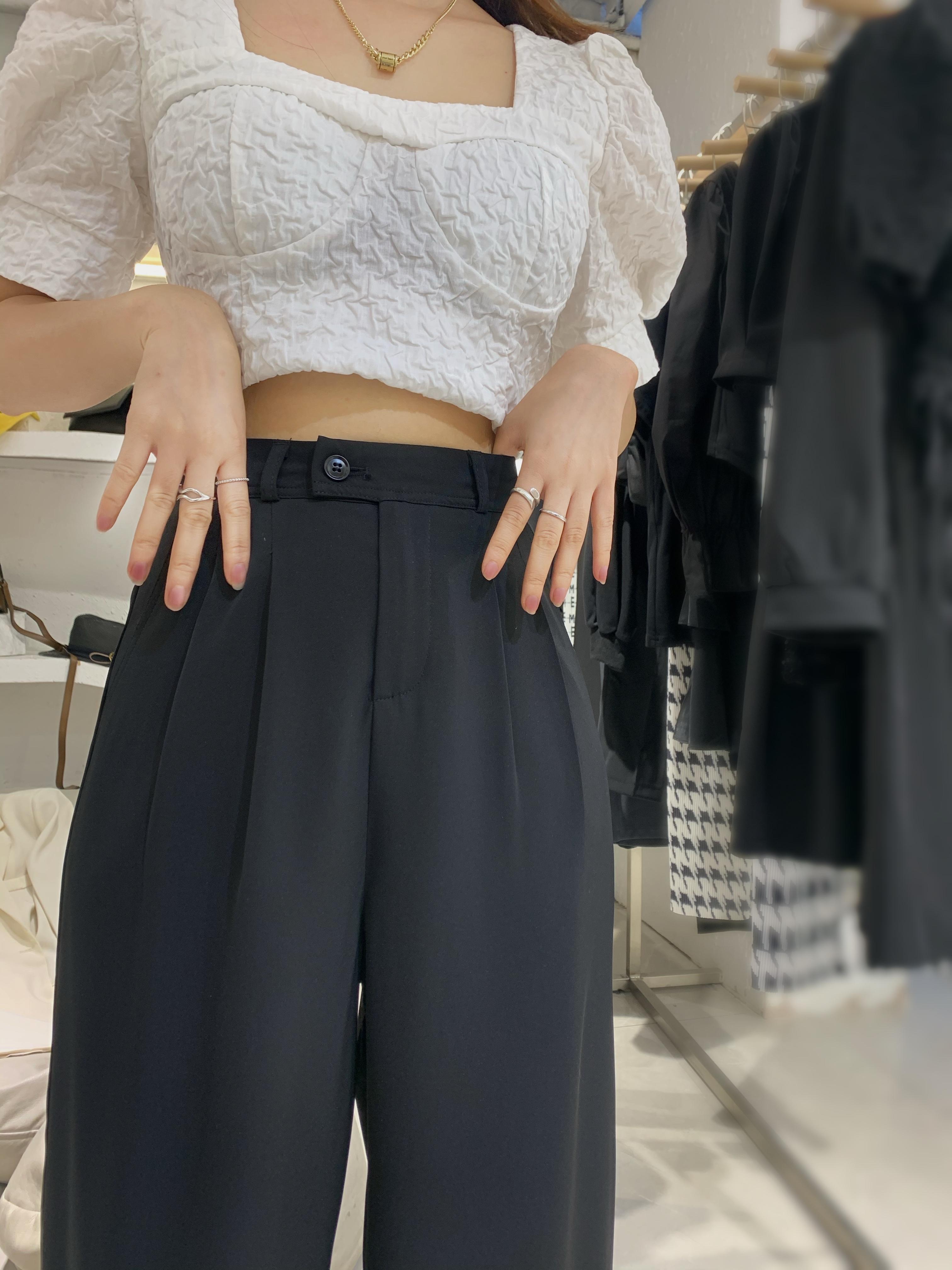 黑色阔腿裤女高腰垂感2021夏季休闲西装裤宽松直筒显瘦拖地裤薄款
