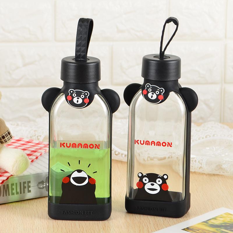 創意玻璃杯熊本熊卡通便攜可愛巴洛克水杯子方形韓國學生兒童女士