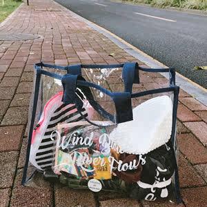 干湿分离沙滩包透明防水包大容量果冻包游泳健身泳衣收纳袋手提袋
