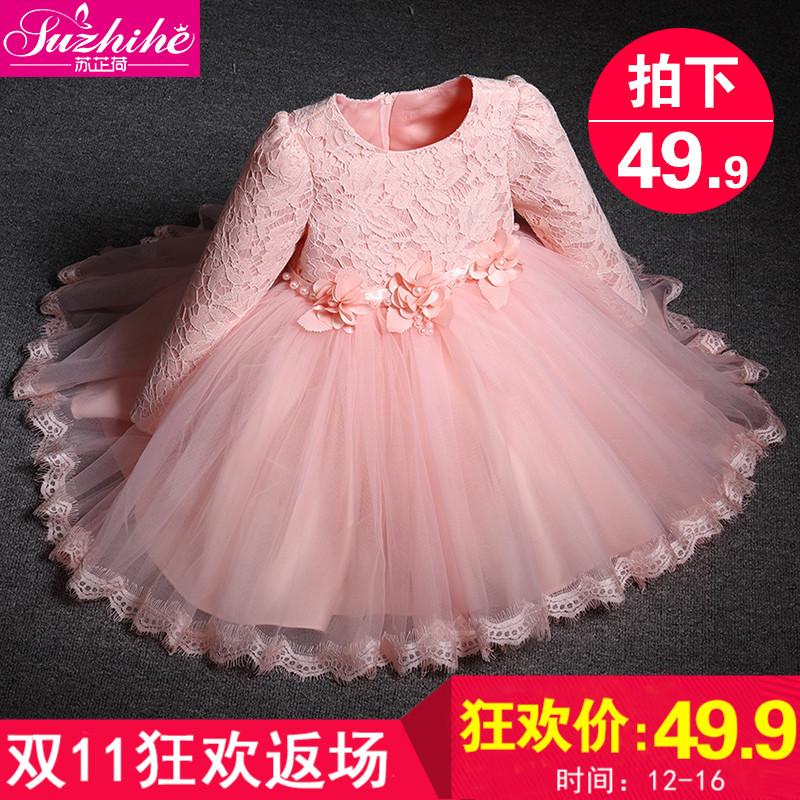 Ребятишки осень зима девочки платье принцессы 2017 корейский плюс бархат ребенок платье свадьба длинный рукав платья юбки