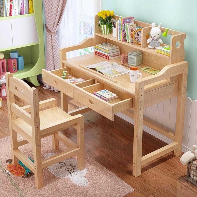 ��木�和��W�桌家用��字桌椅套�b小�W生��桌可升降��字�_松木�n桌