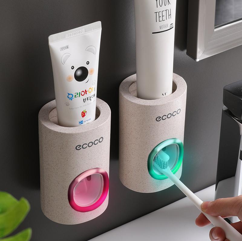 ecoco全自动挤牙膏神器套装挤压器吸壁式牙刷置物架按压式机单个