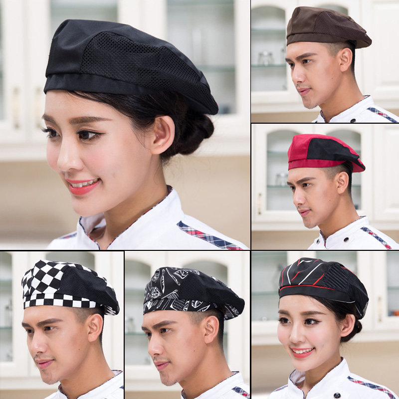 Hotel attendant chef kitchen mens and womens Restaurant fast food restaurant work duck tongue hat breathable mesh Beret customization