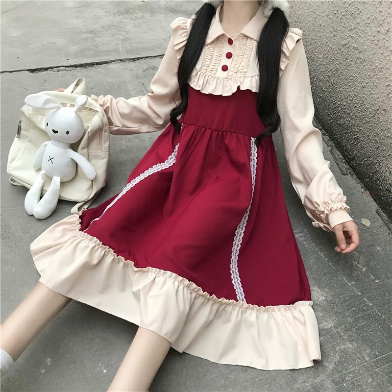 Soft girl dress Japanese Lolita lovely color contrast splicing OP long sleeve dress girl autumn winter style