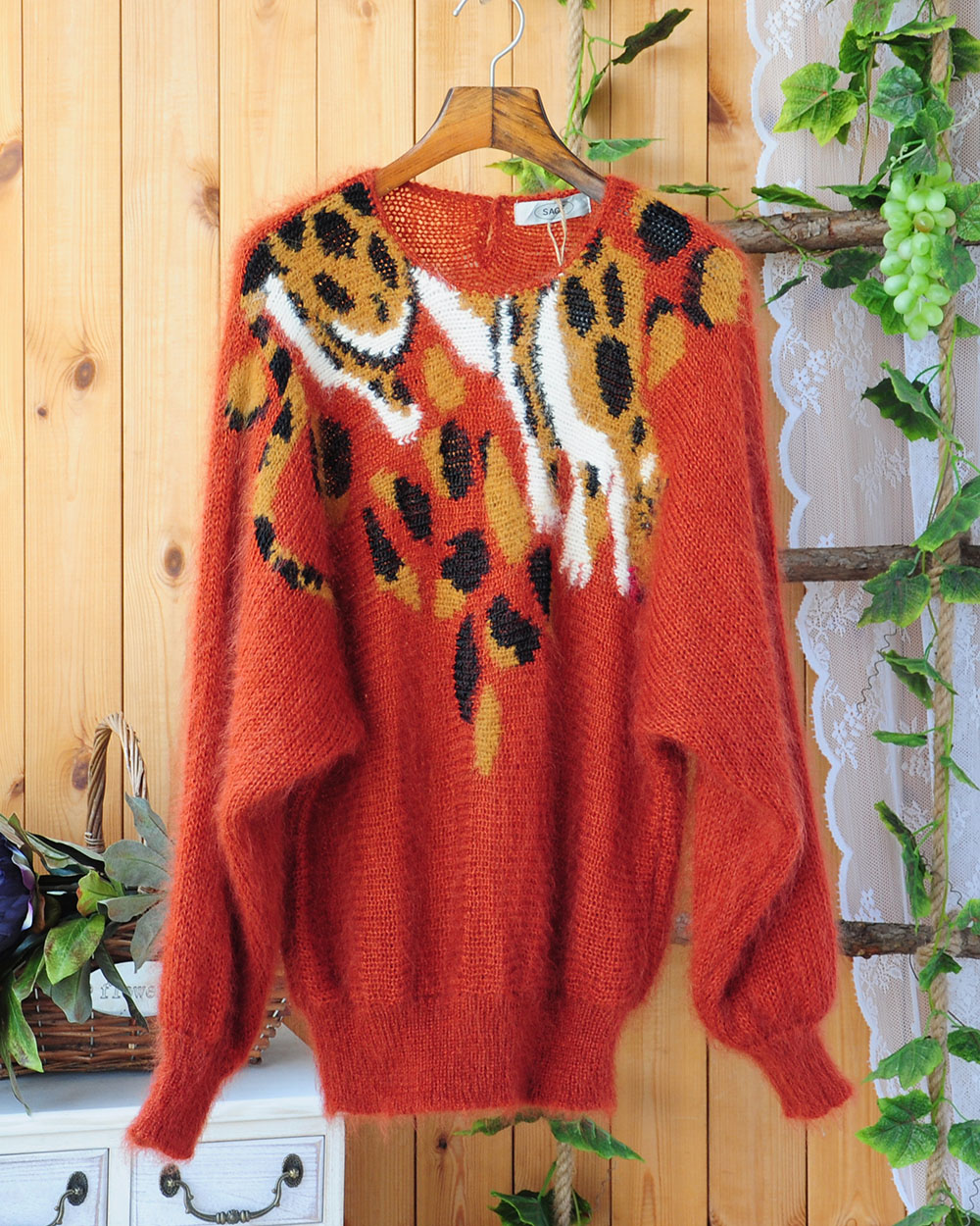 Oversize soft long Mohair leopard bat languid loose Pullover