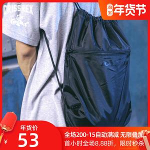 ACTIONS 美式街头运动束口袋轻度防水双肩包多功能简约黑色背包