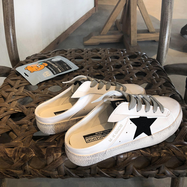 林先参脏脏鞋女韩版夏季凉拖鞋外穿2019小白鞋女星星半拖鞋女平底