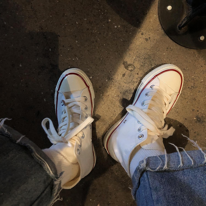 林先参高帮小白鞋女2021年新款百搭ulzzang白色帆布鞋子ins街拍潮