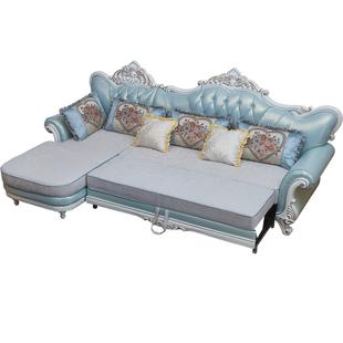 真皮沙發牀歐式小户型客廳轉角貴妃可摺疊拆洗多功能坐卧兩用沙發