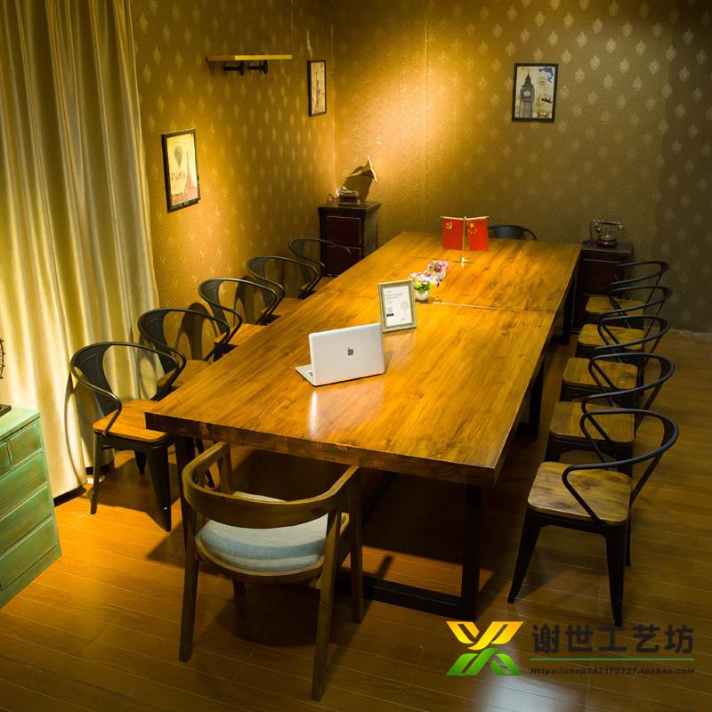 Стол для совещаний из массива дерева из кованого железа винтаж Столы и стулья сочетание переговоров простой компьютерной индустрии длинный стол