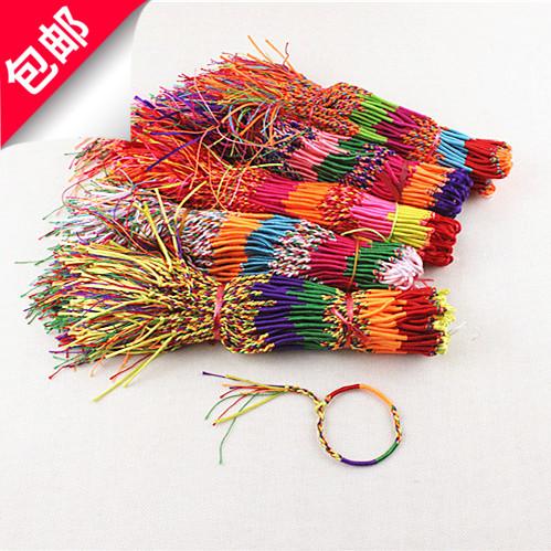 端午节纯手工编织五彩绳五色线金刚结手链DIY饰品绕线七彩绳手绳