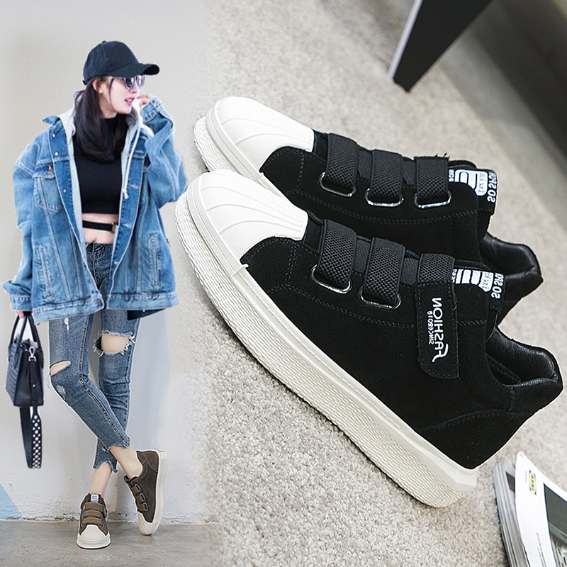 Velcro leather soft sole high top shell shoes for women