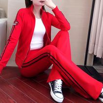 2021春秋时尚休闲套装女洋气高腰喇叭裤修身显瘦卫衣两件套运动服