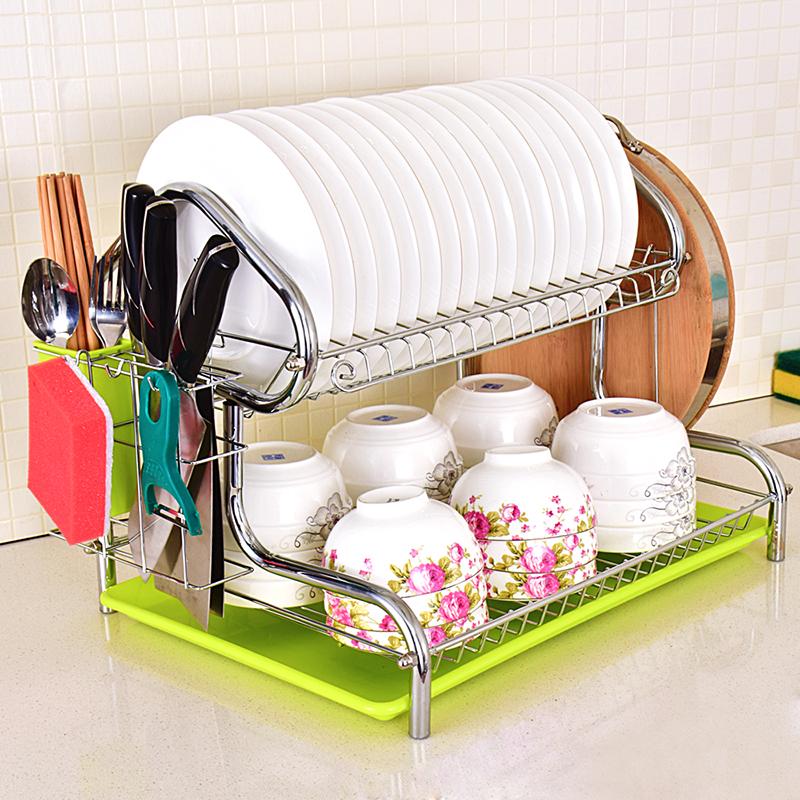 溧水碗架304不鏽鋼瀝水架掛牆廚房置物架壁掛式收納筷筒刀架大號