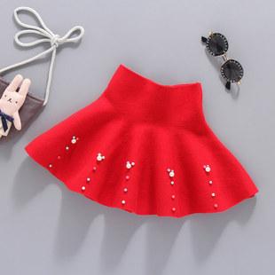 女童半身裙秋裝新洋氣兒童百褶裙女孩夏季小童珍珠裙毛線短裙時髦
