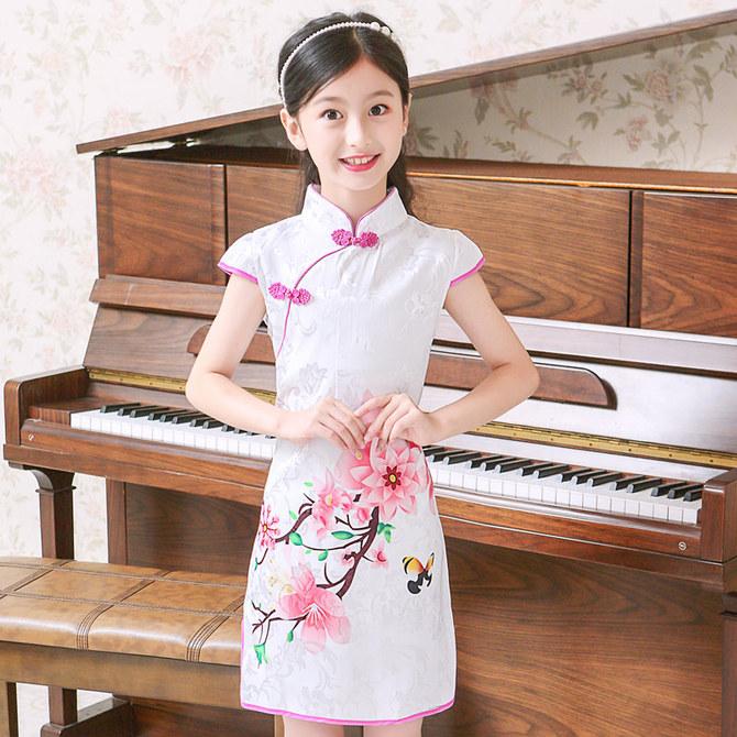 6中国风7公主 12女童8小孩子5旗袍短袖 儿童唐装 9夏季 连衣裙10岁