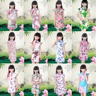 兒童旗袍女夏季2020新款童裝女童小女孩短袖中國民族風公主連衣裙
