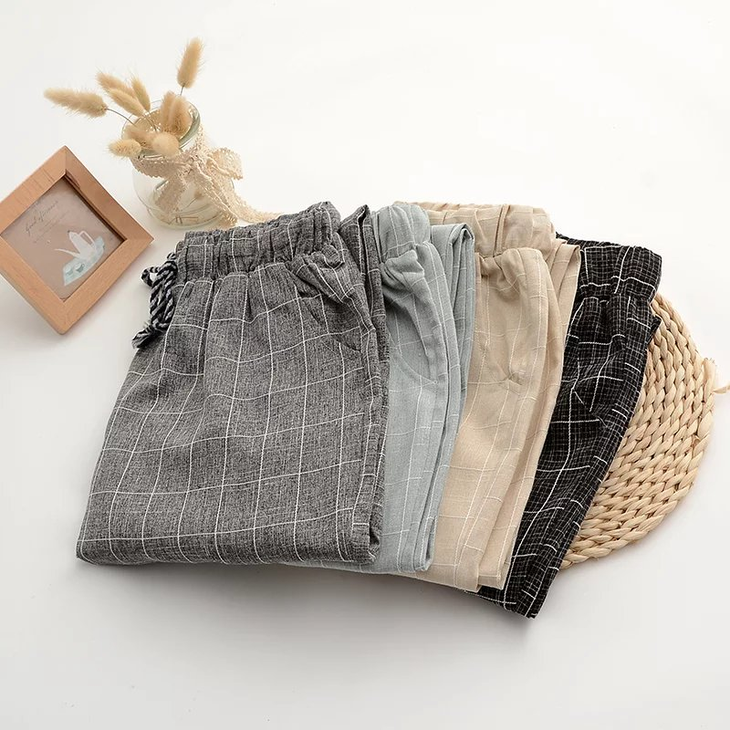 Spring and summer art straight tube cotton hemp pants elastic waist Korean fashion Harem Pants womens Plaid thin casual Capris