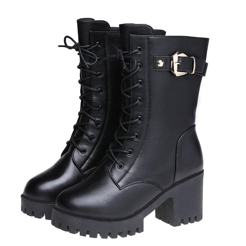 网红ins马丁靴女韩版百搭短靴女士中筒靴女鞋秋冬季粗跟女靴子潮