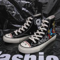 夏季情侣鞋子男潮鞋涂鸦手绘高帮帆布鞋百搭原宿街舞韩版ins板鞋