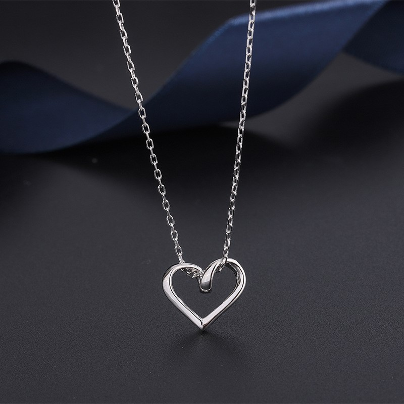 Simple style 999 Sterling Silver love Korean Necklace original Korean hollow heart pendant full silver clavicle chain