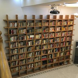 定制松木书架实木书柜满墙隔断吊柜