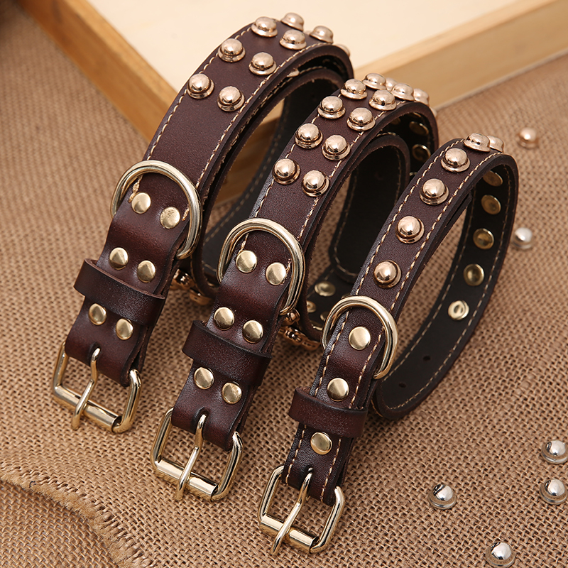 Leather collar, cowhide dog collar, medium and small size dog, golden Labrador spotted horse dog stud, fashionable neck cover