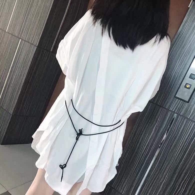 后背设计多种穿法宽松蝙蝠袖中长款纸片人BF薄款衬衫防晒衣外套女