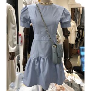 韩版东大门2020夏装新款气质泡泡短袖收腰显瘦复古宫廷风连衣裙女