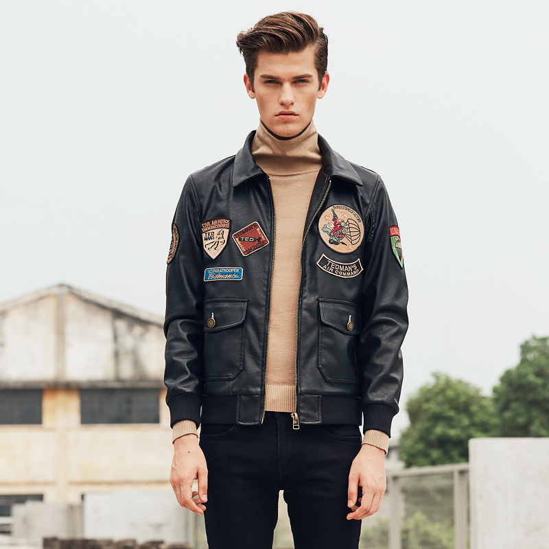 2020 new mens pilot Leather Jacket Badge motorcycle leather coat mens slim fashion embroidered Lapel youth coat