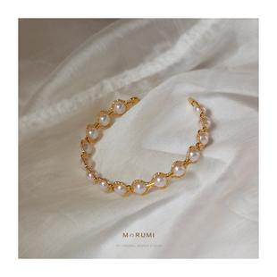 原创设计风格 高级感 简约风 气质珍珠手镯女小众18K金手链女