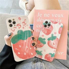 夏日粉色草莓适用iPhonex/xs/11promax手机壳8plus苹果xr软7p女SE图片