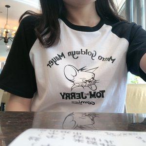 新品韩国插肩袖猫和老鼠复古字母印花学院宽松短袖纯棉情侣T恤潮