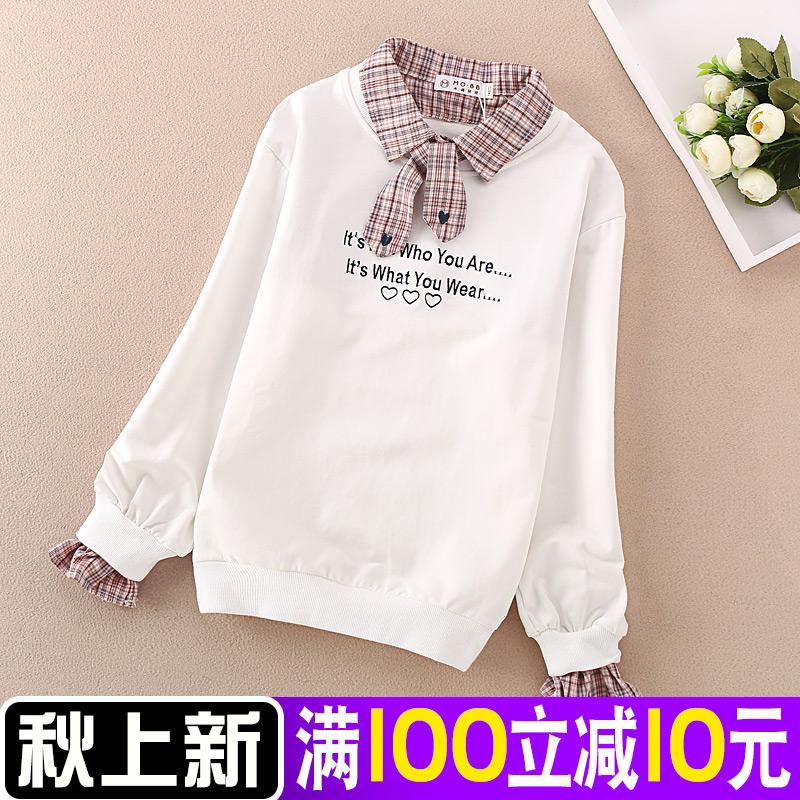 女童T恤长袖秋冬小学生加绒打底衫中大童白色上衣假两件女孩卫衣