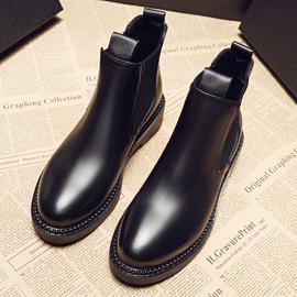 平底小跟短靴女鞋真皮厚底粗跟马丁靴英伦学生百搭加绒切尔西靴子