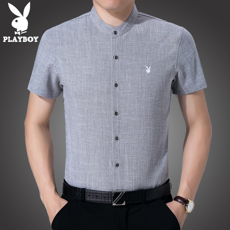 Playboy Summer Short Sleeve Shirt male middle aged standing collar cotton hemp thin casual inch shirt half sleeve shirt linen soil