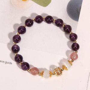 梦幻乐园紫水晶草莓晶镀24K金手链招桃花升气运串珠手串手环礼物