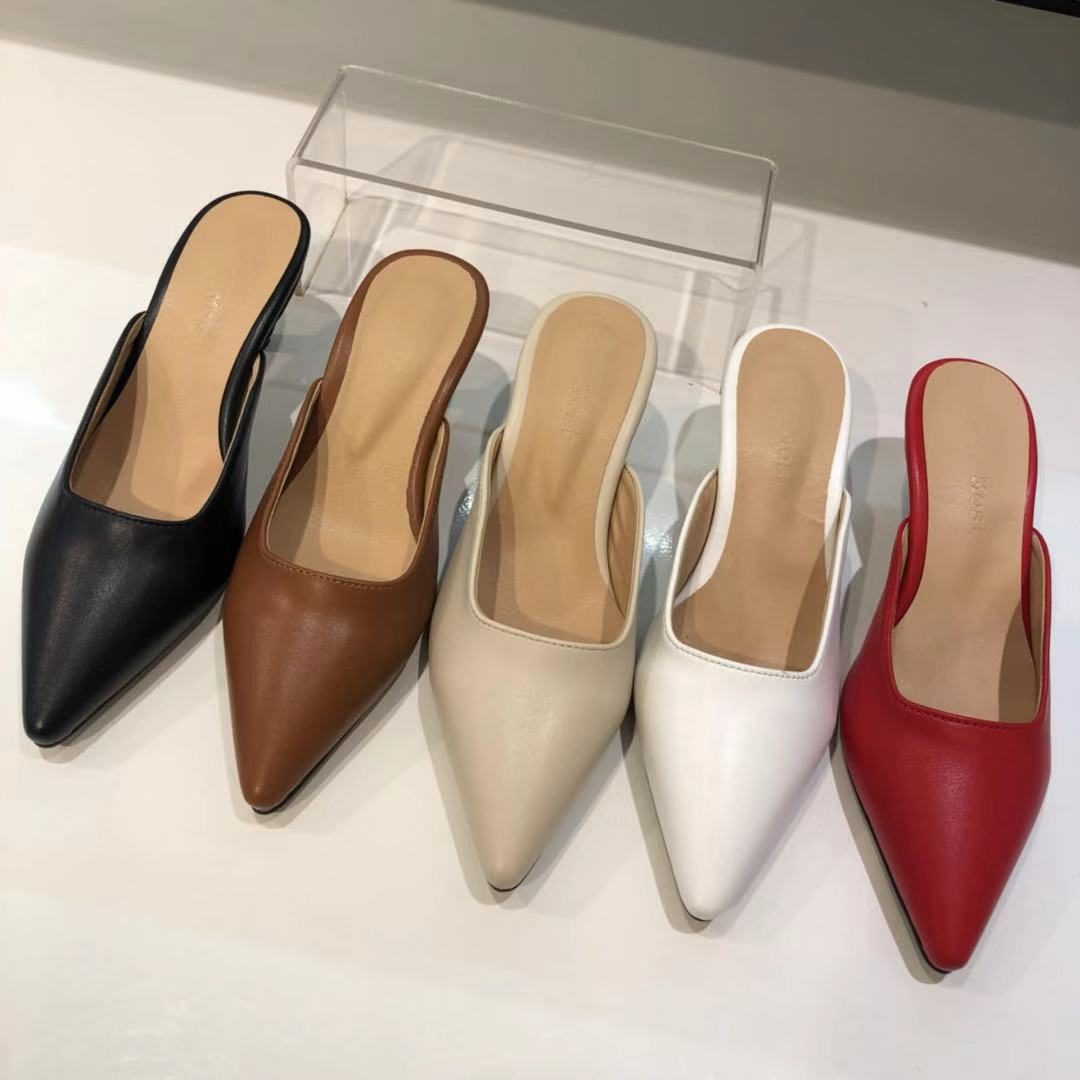 韩国东大门正品代购20春款韩味细跟浅色显瘦舒适时尚女半拖凉鞋