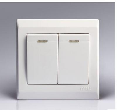 泰力墙壁开关插座单开一开二开三开四开家用嵌入式86型白色方包邮