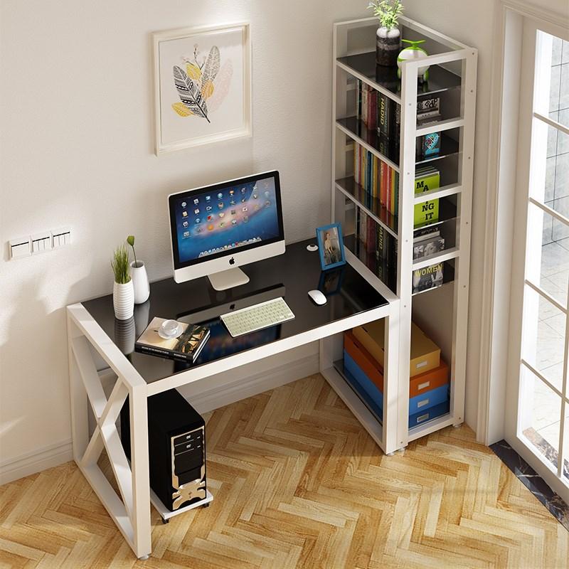 限时2件3折电脑书桌带书架台式桌家用书桌组合写字桌简约现代卧室学生学习桌