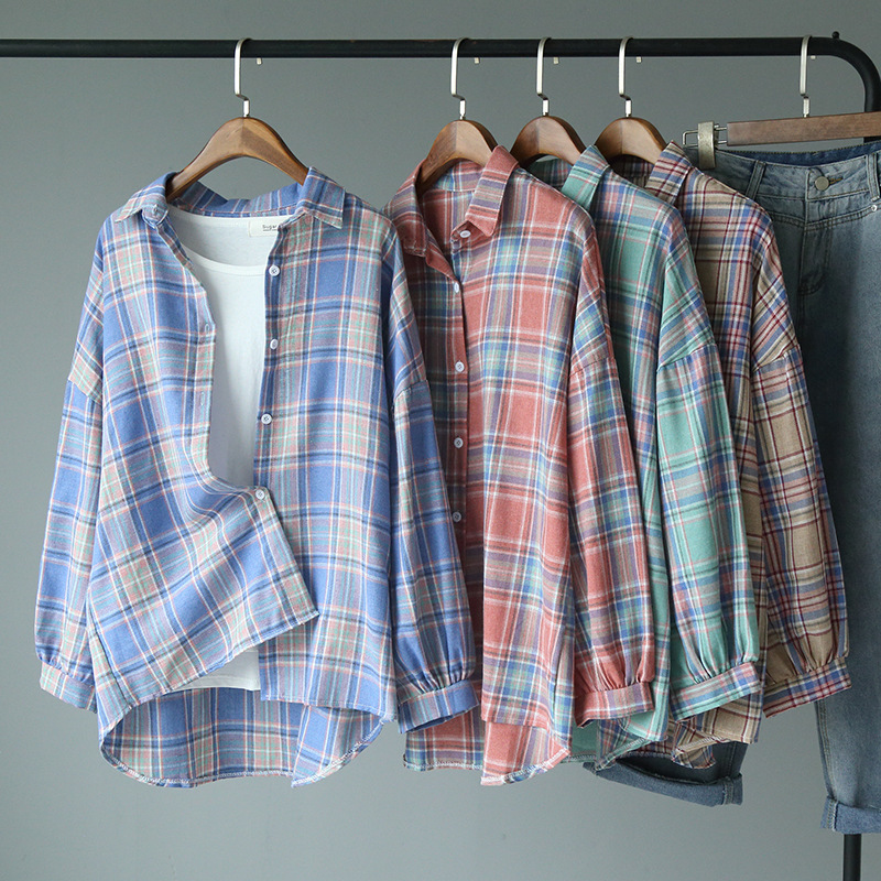 2020 summer color Plaid womens cotton loose single breasted cardigan long sleeve shirt top coat cool and breathable